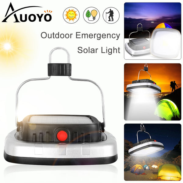 Auoyo 16 LED Solar Lanterns Outdoor Lighting COB Tent Camping Light USB Rechargeable Flashlight Survival Kit Tent Lamp