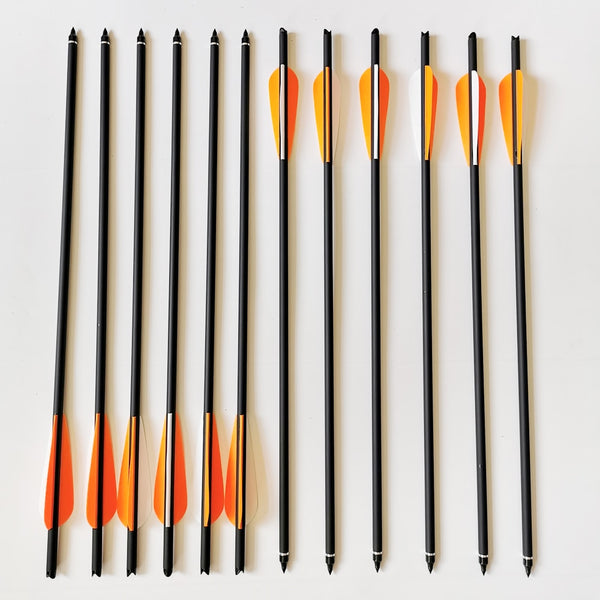 6/12/24Pcs Mix Carbon Crossbow Arrow OD 8.8mm Length 17/20/22 Inches With Orange Arrow Feather For Archery Hunting Shooting