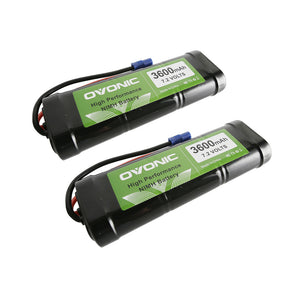 Ovonic 3600mAh 7.2V  6-Cell NIMH  Battery With EC3 Plug For 1/8&1/10 RC Car [2packs] - Ampow
