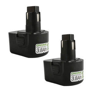 Ovonic 12V 3.8Ah DW9072 DC9071 DW953 battery replacement for DeWalt DC/DW Series power tools(2packs) - Ampow