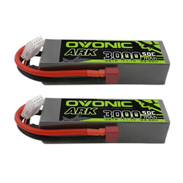 [2 Packs] OVONIC ARK 11.1V 50C 3S 3000mAh Lipo Battery with T Plug for Aircraft - Ampow