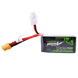 OVONIC 11.1V 1550mAh 3S 50C LiPo Battery Pack with XT60 Plug for Skylark QAV 250 Vortex Drone - Ampow
