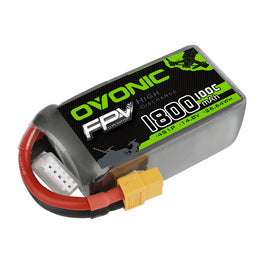 Ovonic 1800mah 4S 14.8V 100C Lipo Battery Pack with XT60 Plug for FPV - Ampow