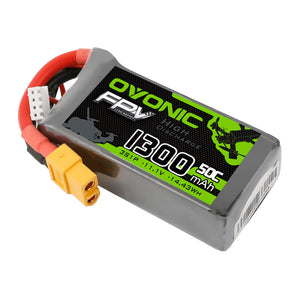 OVONIC 11.1V 3S 1300mAh 50C LiPo Battery Pack with XT60 Plug for FPV Drone - Ampow