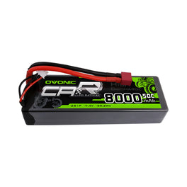 OVONIC 7.4V 50C Hardcase 2S 8000mAh LiPo Battery Pack 24# with Deans Plug - Ampow