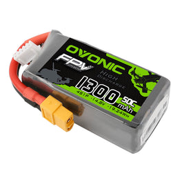 OVONIC 50C 1300mAh 14.8V 4S LiPo Battery Pack with XT60 Plug for Drone FPV Quadcopter - Ampow