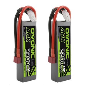 OVONIC ARK series 11.1V 2200mAh 3S 25C Lipo Battery with Deans for Glider, Park flyer (2 Packs) - Ampow