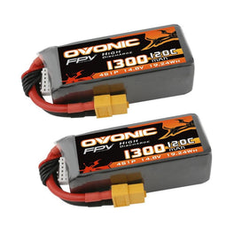 Ovonic 120C 14.8V 1300mAh 4S LiPo Battery Pack for FPV Racing - XT60 Plug(2packs) - Ampow