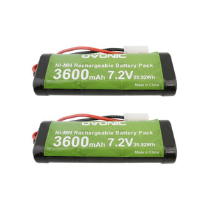 Ovonic 3600mAh 7.2V 6-cell NIMH battery with Tamiya plug for 1/10 RC car[2packs] - Ampow
