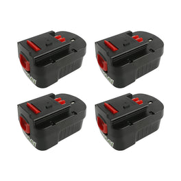 Ovonic 3.8Ah HPB14 A14 A144 FSB14 FS140BX 14.4 v battery replacement for BlackDecker (4packs) - Ampow
