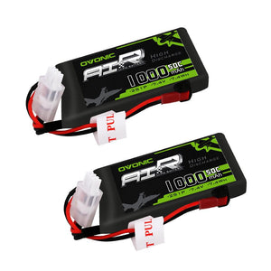 (2 packs) Ovonic 50C 2S 7.4V 1000mAh Lipo Battery Pack with JST Plug for RC helicopter - Ampow