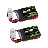 Load image into Gallery viewer, OVONIC 50C 7.4V 2S 450mAh LiPo Battery with JST Plug for Small Helicopter Airplane [(2-Pack ] - Ampow