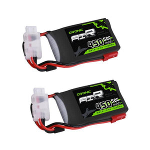 OVONIC 50C 7.4V 2S 450mAh LiPo Battery with JST Plug for Small Helicopter Airplane [(2-Pack ] - Ampow