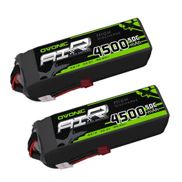 OVONIC 50C 22.2V 6S 4500mAh LiPo with T Plug for plane& drone(2 pcs) - Ampow