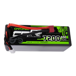 OVONIC 7200mAh  3S 11.1V 80C Lipo Batteries Pack with Deans Plug for RC Car Truck - Ampow