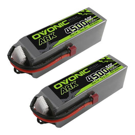 OVONIC ARK 50C 22.2V 6S 4500mAh LiPo with T Plug for airplane EDF Jet(2 pcs) - Ampow