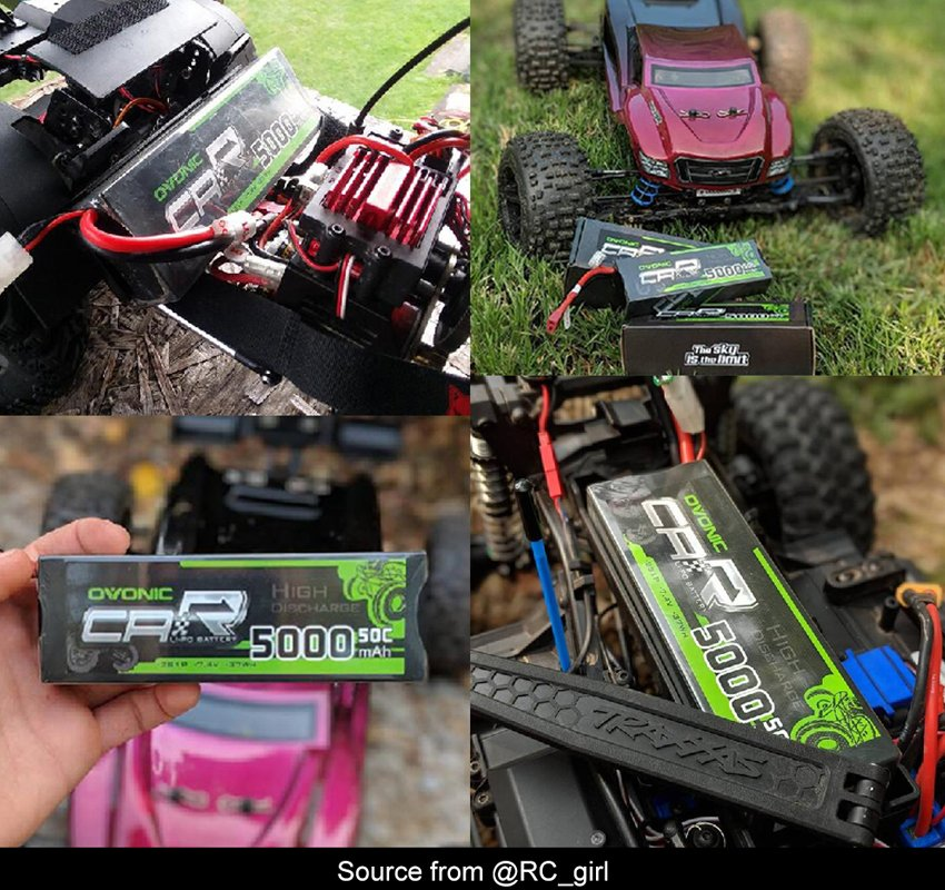 Ovonic 5000mah 2s 50c battery suited to Traxxas