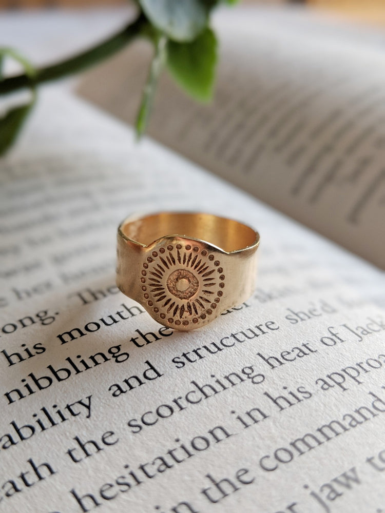 Sun signet ring, Sun Pinkie Signet Ring, 14K Gold Plated Sun Pinkie seal ring, Sterling Silver 925
