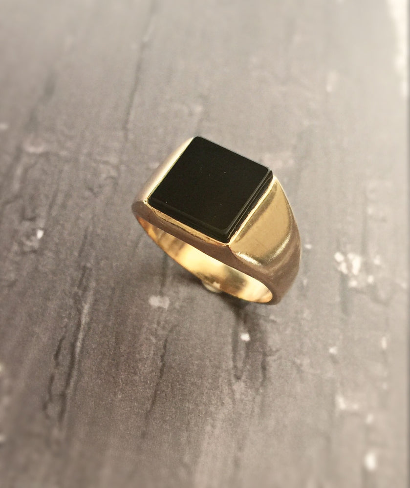Onyx signet ring-silver 925-gold plated