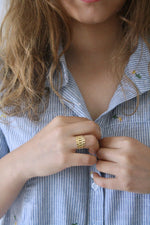 gold chain ring ,Gourmet design, signet ring