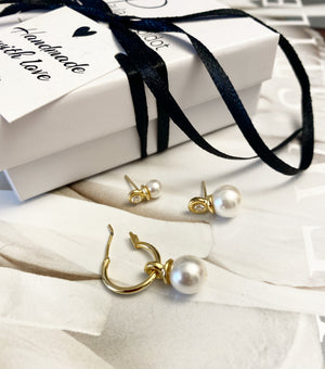 6 * Pack 3 earrings -white pearl