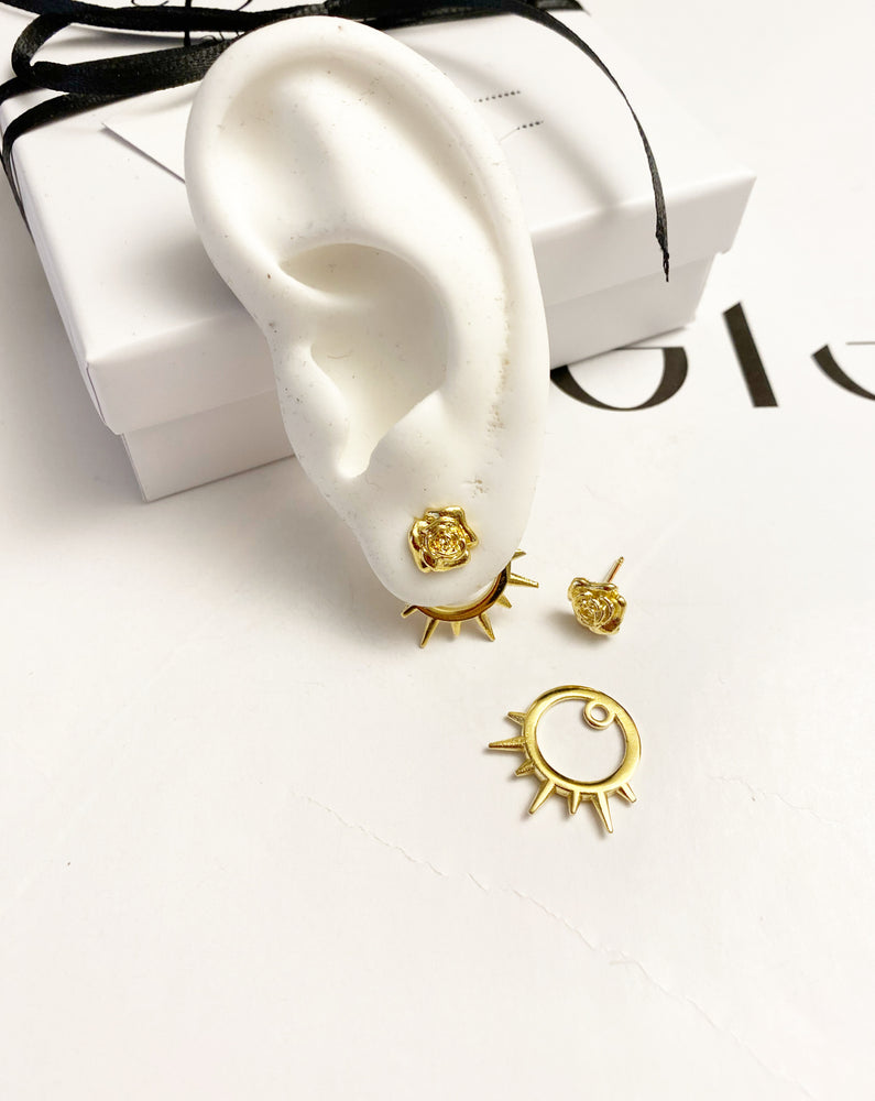 Double-sided rose earring with studded back circle