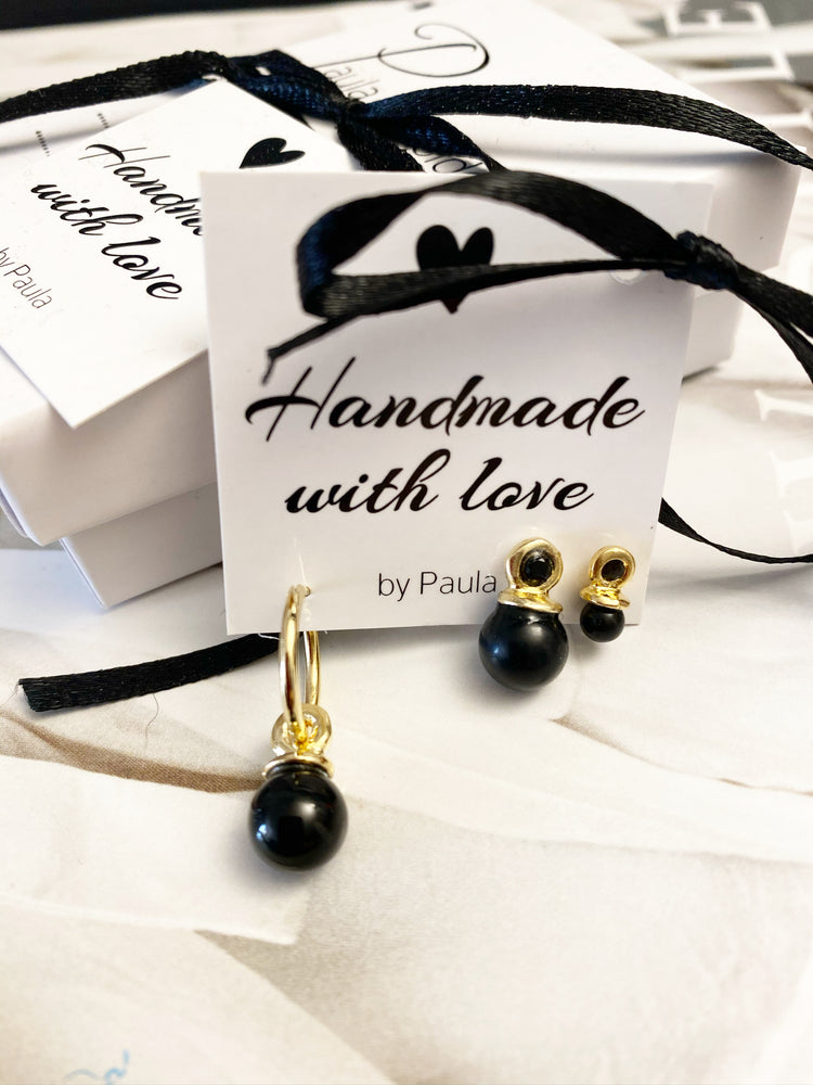 8 * Pack 3 earrings -black pearl