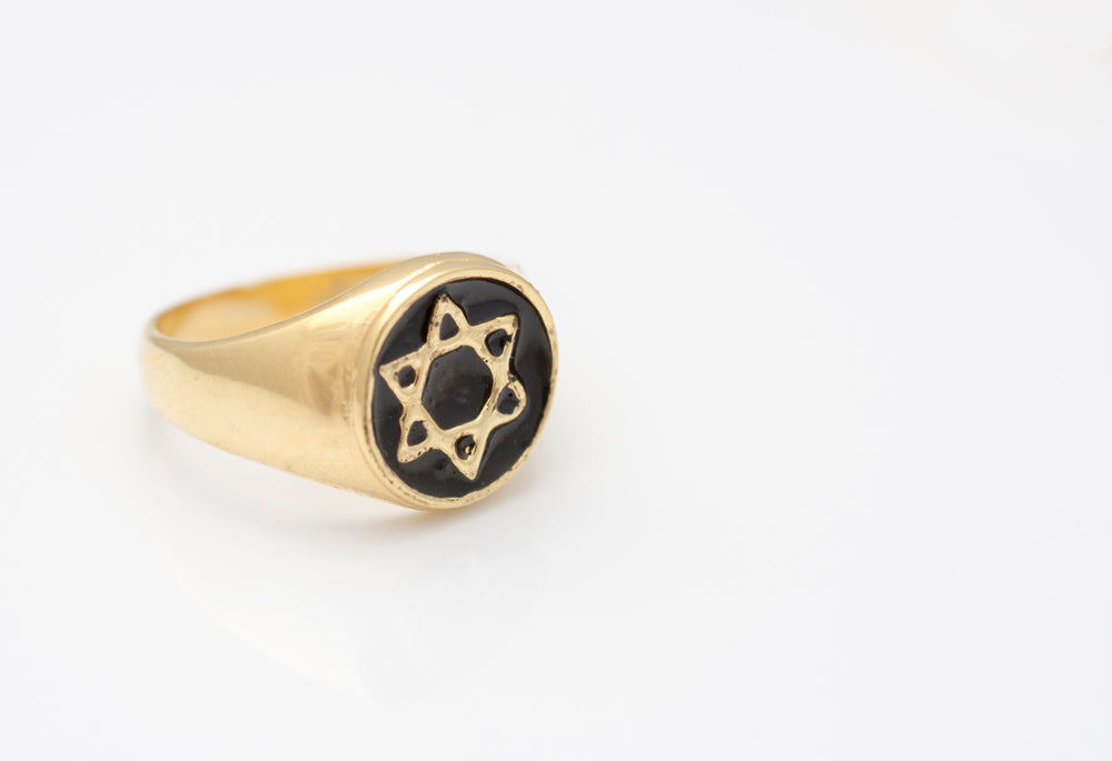 Star of David signet ring, Unique statement ring, Gold plated-silver 925 ring inlaid with colorful enamel, Wideband ring, Unisex ring, Pinky ring