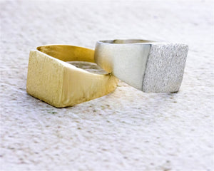 Square Signet Ring with a Brushed Finish