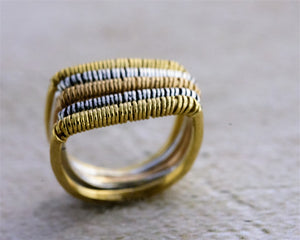 Load image into Gallery viewer, Wire Wrapped Ring, Stack Square Ring, Gold Plated -silver 925, Thin Gold Ring, Edgy