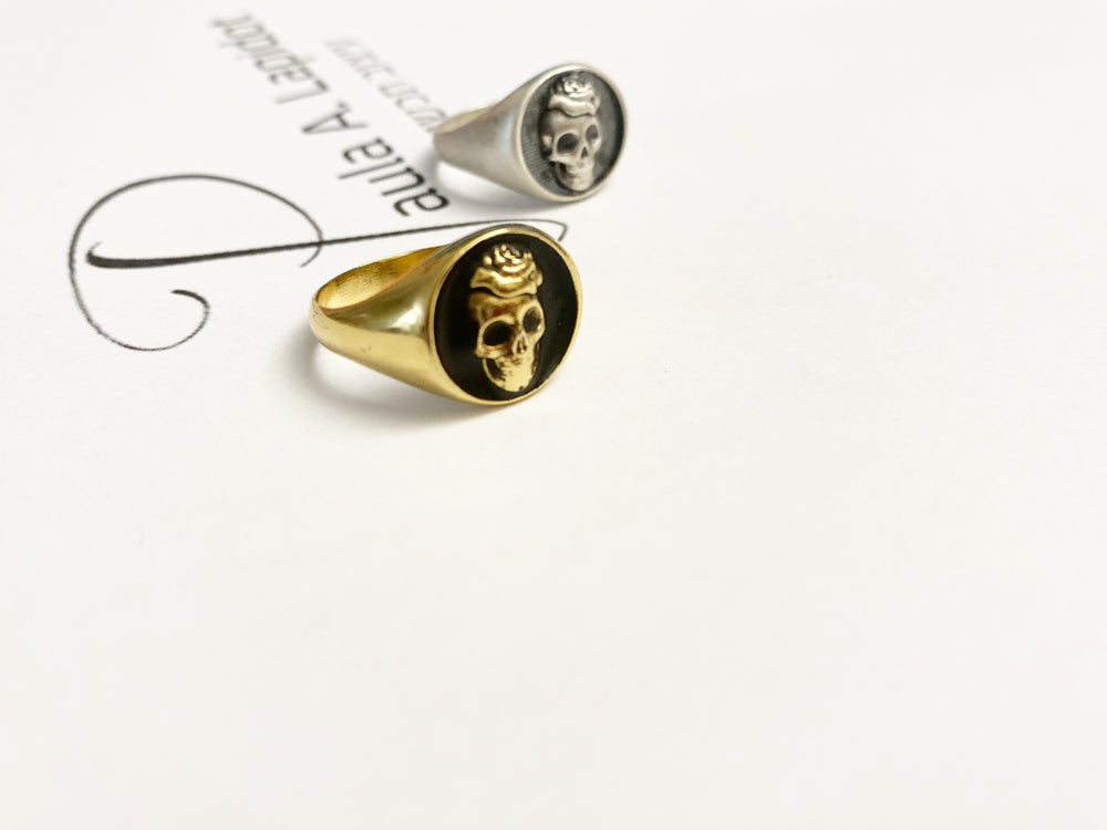 Skull signet ring - silver 925- gold plated