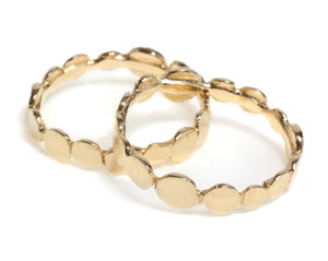 Delicate flat balls stacking knuckle ring, flat balls ring, stacking knuckle flat balls ring, gold plated-silver 925