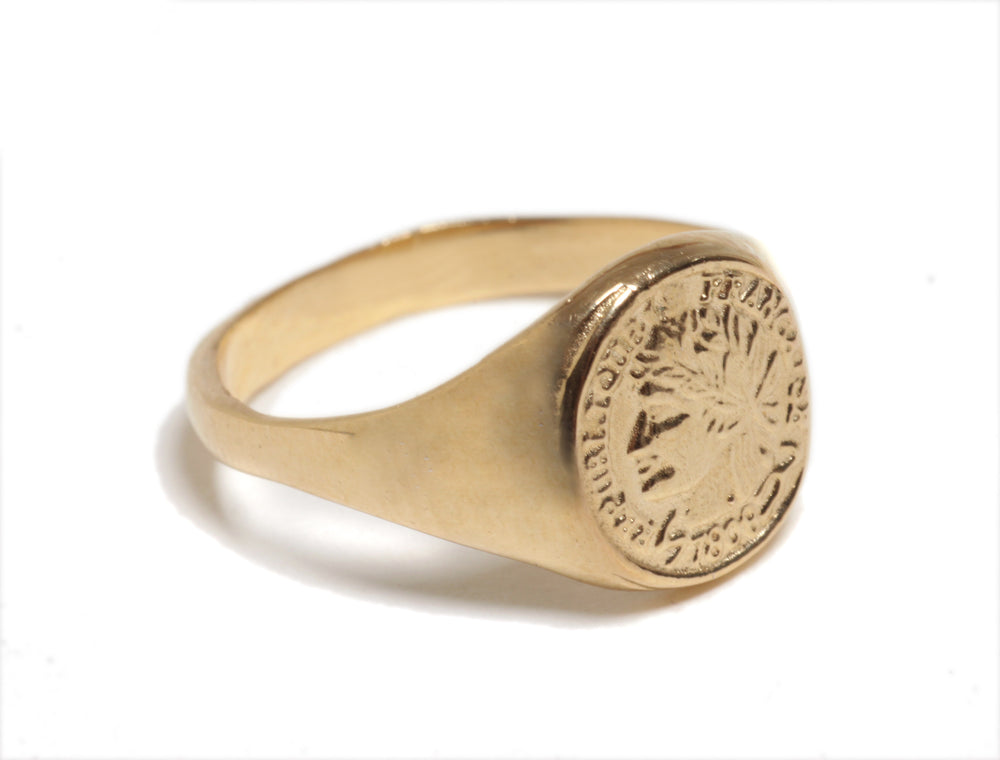 Coin signet ring, French woman imprint, Coin Pinkie Signet Ring,