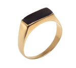 Signet Ring, Narrow rectangle ring inlaid with colorful enamel, gold plated-silver 925
