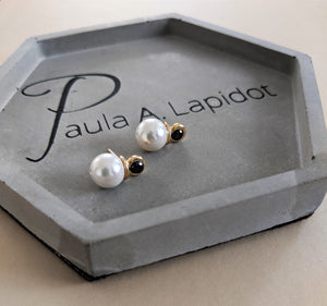 Pearl earrings combined with zircon - large