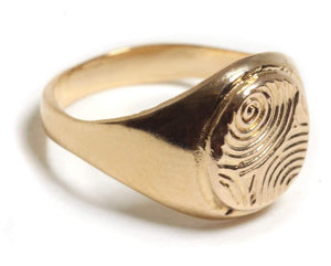 Signet ring,  Gold plated-silver 925 spiral etching Signet ring, Pinkie Seal ring