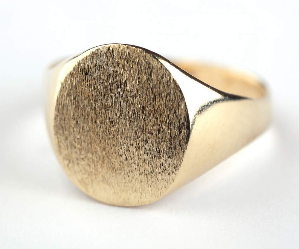 Brushed Signet ring, Brushed Seal ring, Signet ring, Chunky Ring, Statement Ring, Large Gold Ring, Large