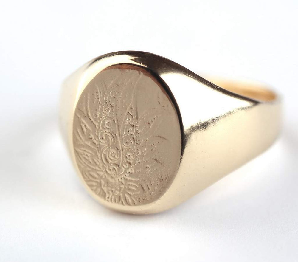 Large Gold Ring, 14K Gold Plated Signet Ring with Decoration, Decorated Seal Ring, Unique Statement Jewelry