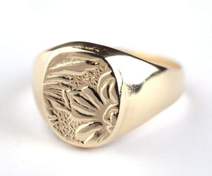 Flower etching Signet ring, Gold Plated-silver 925, Flower etching Signet ring, Pinkie Seal ring