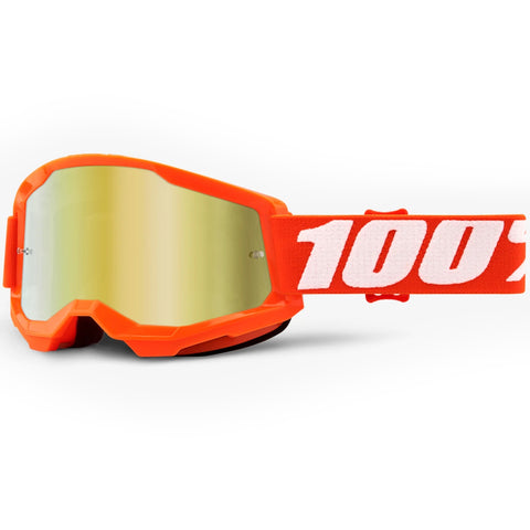 New 100% Youth Strata 2 Orange Goggles (Mirror Gold Lens)