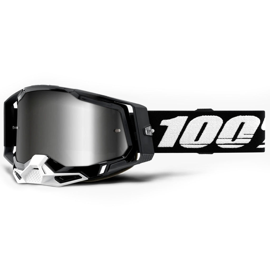 New 100% Racecraft 2 Black Goggle (Mirror Silver Lens)