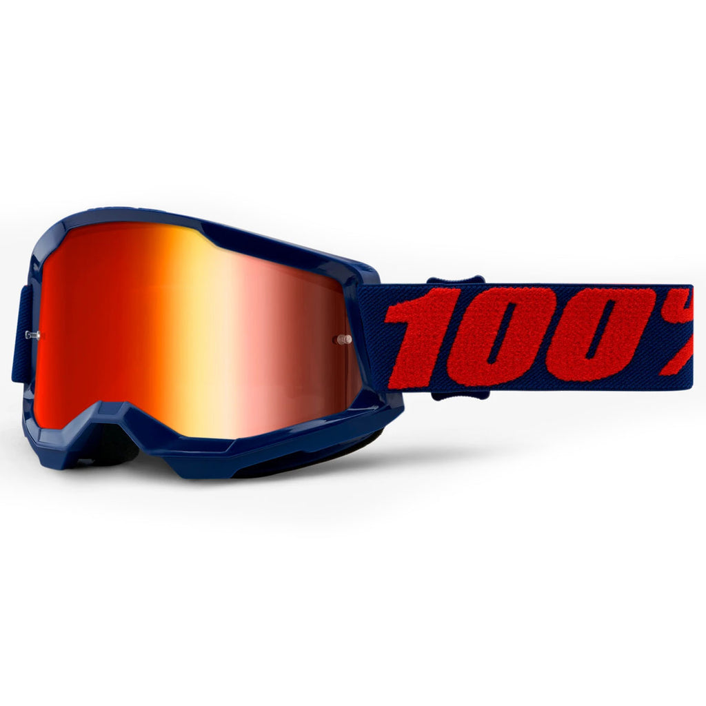 New 100% Strata 2 Masego Goggles (Mirror Red Lens)