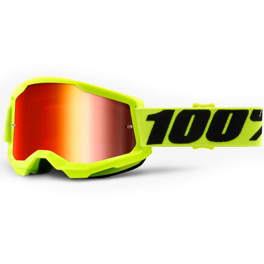 New 100% Strata 2 Neon Yellow Goggles (Mirror Red Lens)