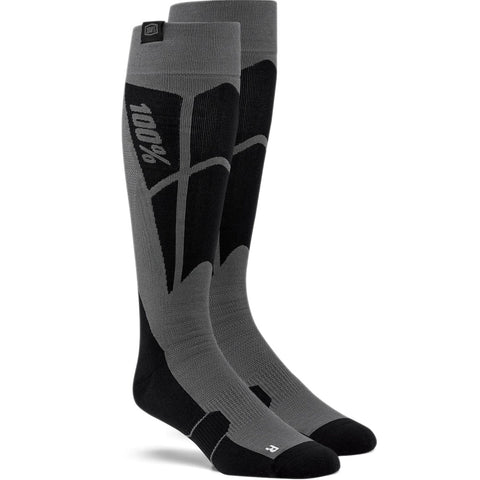 100% Hi-Side Moto Socks (Black/Steel Grey)