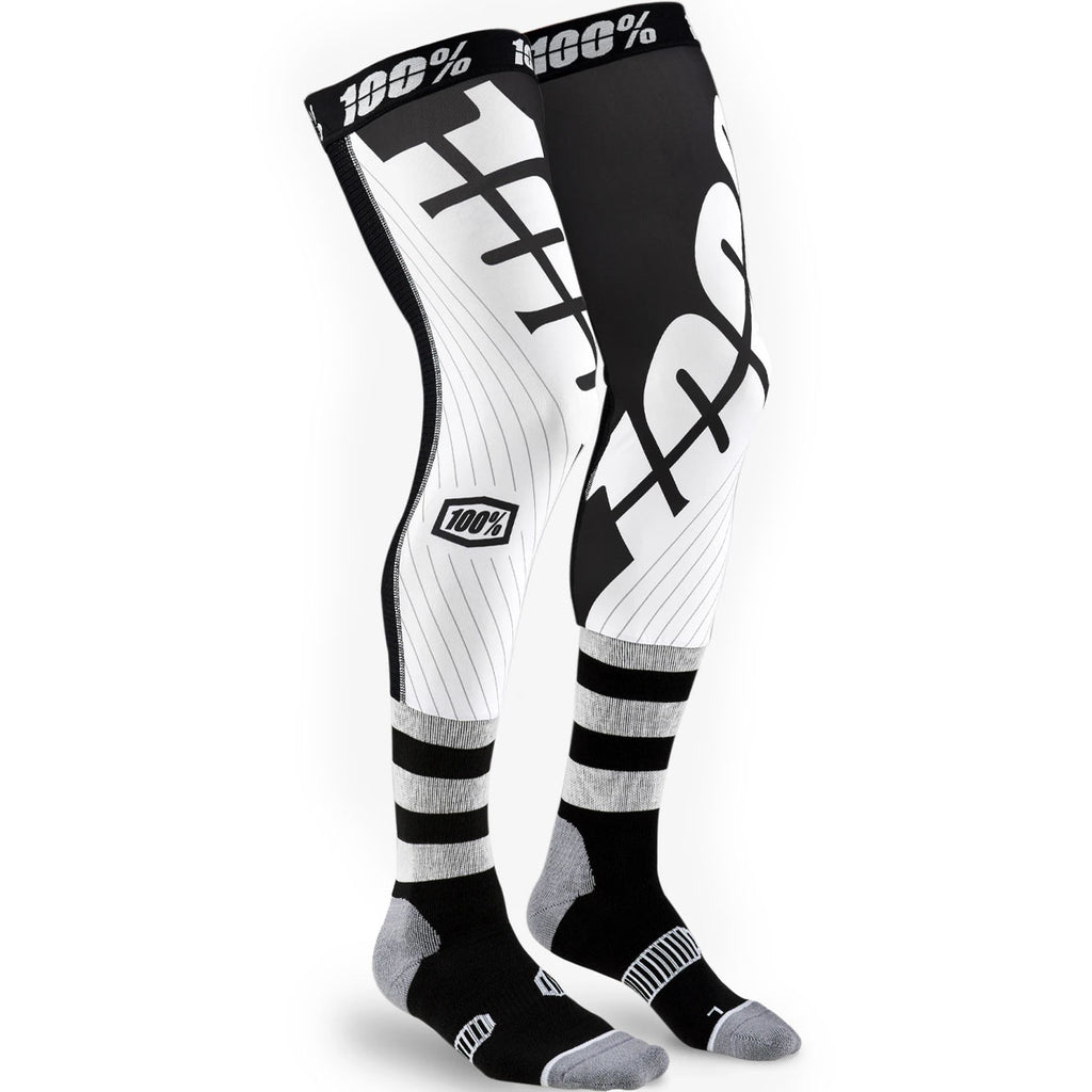100% REV Knee Brace Performance Moto Socks (Black/White)