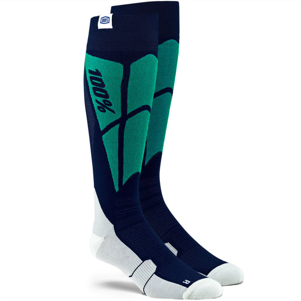 100% Hi-Side Moto Socks (Navy/Grey)