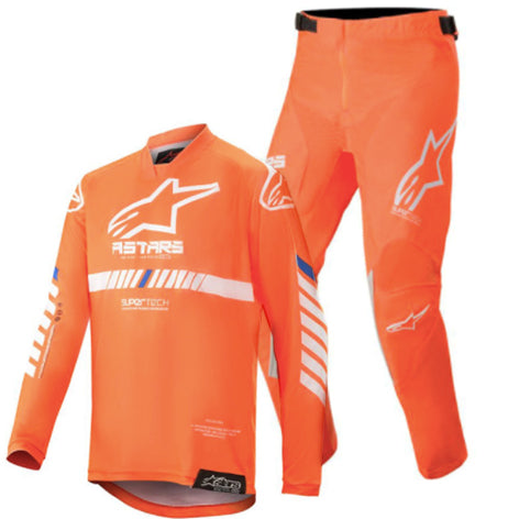 MX20 Alpinestars Youth Racer Tech Kit Combo (Flou Orange/White/Blue)