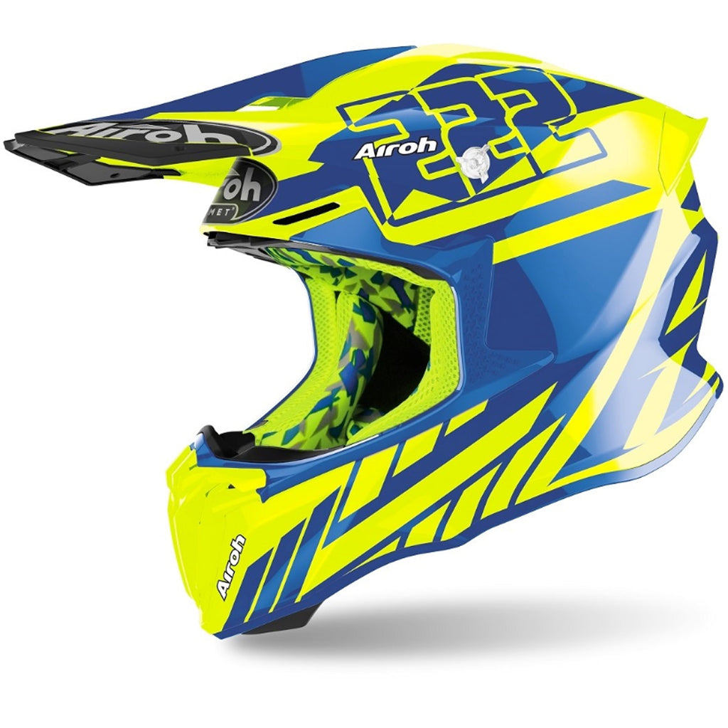 Airoh Twist 2.0 Cairoli 2020 Replica Helmet (Neon Blue/Yellow Gloss)