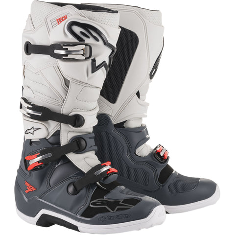 Alpinestars Tech 7 Boot (Dark Grey/Light Grey/Red)
