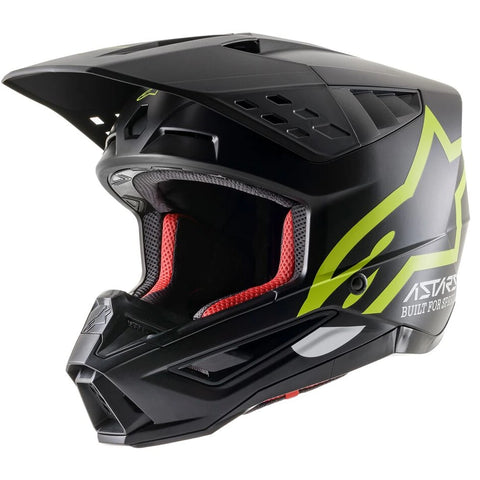 MX21 Alpinestars S-M5 Compass Helmet (Black/Yellow Fluo Matte)